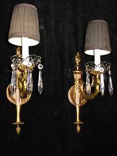 wall light sconce bronze & crystal drops Figural mermaid sculptures ART DECO