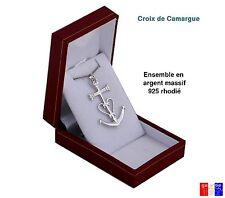8a067cd69ce6 Pendentif croix de camargue Camargaise + chaine en argent Massif 925 rhodié  neuf