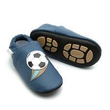 Liya's Babyschuhe Hausschuhe Lederpuschen Lauflernschuhe - #658 Fußball in blau
