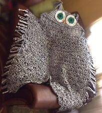 Crochet Hooded Owl Blanket Chunky Throw, gift for him/her, Child-Ault sizes, UK