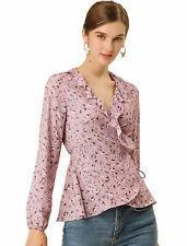 Women's Floral Print Ruffle V Neck Self Tie Wrap Peplum Top