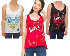 Desigual Heart Print Love Vest Top Red Black White S-XXL UK 10-18 RRP?39