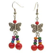 Boucles d'oreilles pendante papillon argenté perle pierre ROUGE bois multicolore