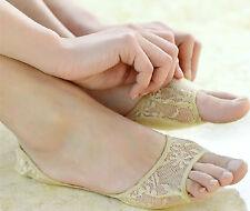 Women Ladies Girls High Heels Lace Summer Sandal Invisible Half Footie toe Socks