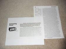 Crown SA-2 Amplifier Review, 1980, 2 pg, Specs, Info