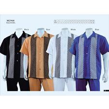 New Men's 2pc Walking Suit Short Sleeve Casual Shirt & Pants Set M~5XL Style2968