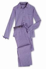 Yellamaris Damen Schlafanzug Nachtwäsche Pyjama Vichy Karo amethyst Gr. 44 - 46