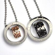 Collana per COPPIA CATENA CON CIONDOLO PARTNER di acciaio anelli color-argento