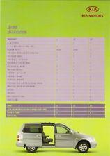 Kia Sedona Specification 2005-06 UK Market Foldout Brochure V6 CRDi L LE SE