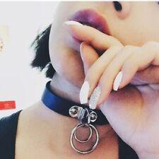 punk sombre rock collier en cuir collier pendentif harajuku. la bague double o