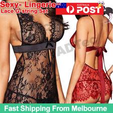 Women Sexy-Lingerie Nightwear Underwear Babydoll Sleepwear Lace G-string Set