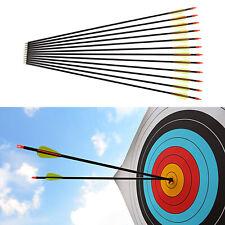 12pcs Hunting Arrow Hunter Nocks Fletched Arrow Fiberglass Target Practice Arrow