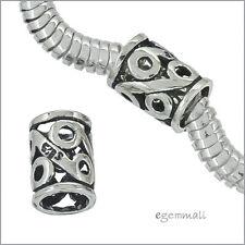 2 Vintage Sterling Silver Tube Spacer Beads For European Bracelet #51934