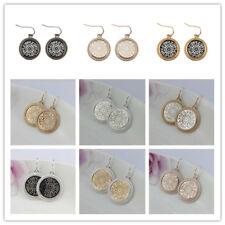 Christmas Gift New Gold Filigree Round Earrings Openwork Two Tone Women Jewelry