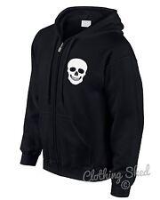 Skull Zipped Hoody Rock n Roll Hoodie Hipster Mens Street Heavy Metal Womens