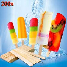 200pcs Wooden Sticks Freezer Pop Sticks for Ice Cream Bars 65/93/114/140/150mm