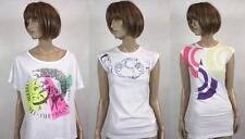 Ladies women DIESELtops white neon batwing lose pattern graphic