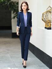 56497d812fe7 Tailleur completo donna blu giacca a manica lunga e pantalone slim cod 7144