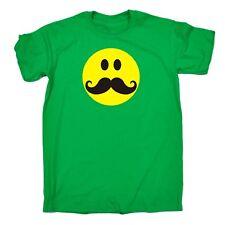 Loose Fit verde medio M-Smiley Bigote-Barato Cool Camiseta