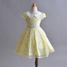 Flor Niñas Algodón Verano Vestido de fiesta azul rosa amarillo 4 5 6 7 8 años