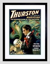 THURSTON THE GREAT MAGICIAN VINTAGE ADVERT BLACK FRAMED ART PRINT B12X2552