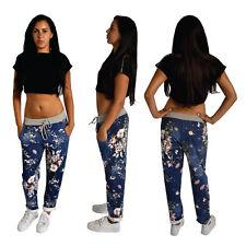 Ladies Dark Denim Blue Floral Print Casual Lounge Wear Jogger Trousers