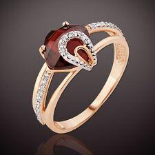 Granate Briolett CZ RING Russische Rose Rotgold 585 Neu mit Etikett gestempelt
