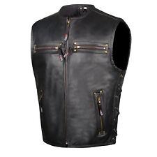 Men's Motorcycle Buffalo Leather Gun Pocket Armor Biker Club Vest Side Laces