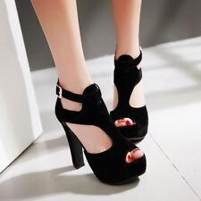 Roman Womens High Heels Platform Sandals Peep Toe Buckle Solid Kitten Heels Shoe