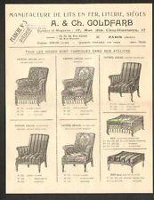 """PARIS (XIII°) USINE de SIEGES POUFS FAUTEUILS """"A. & Ch. GOLDFARB"""" en 1924"""