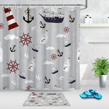 Nautical Lighthouse Anchor Rudder Bottle Waterproof Fabric Shower Curtain Hooks