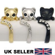 Cute Kitten Cat SWAROVSKI ELEMENTS Adjustable Kitty Ring  w Rhinestone Eye