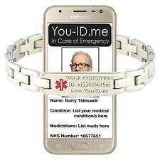Unisex ID alert safety bracelet Engraved medical condition Emergency SMS alarm