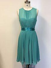 New Womens Teal Sleeveless High Neck Chiffon Short Dress with Sweetheart Liner