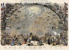 1876 Map Pictorial View of the World Poster Le Tour du Monde en un Clin d'Oeil