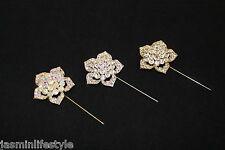 Ladies Diamante Crystal Hijab Long Hair Pin Brooch Bridal PromCostume Jewellery