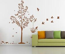 Gran árbol Con Pájaros Y Jaula De Arte De Pared En Vinilo, Sticker, Etiquetas De Pared-Alta Calidad