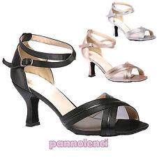 Scarpe ballo decollete danza raso listini tango salsa merengue latino Y1385