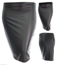 Sexy new Black pvc wet look full elastic waist stretch pencil skirt plus size