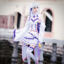 Re:Zero kara Hajimeru Isekai Seikatsu Emilia Cosplay Costume Dress Stocking