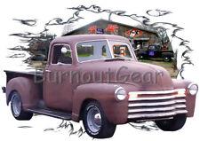 1949 Red Primer Pickup Truck a Custom Hot Rod Garage T-Shirt 49 Muscle Car Tees