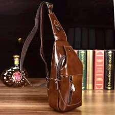 US Genuine Leather Mens Black Chest Bag Crossbody Travel Shoulder Messenger Bag