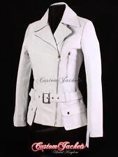 Ladies PRAGUE White Classic RETRO 70's Designer Real Leather Belted Jacket