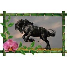 Sticker Bambou déco cheval noir 982