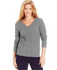 Tunic Sweater Cable Knit V Neck WHITE Karen Scott 100% Cotton Medium M 8 10 Z379