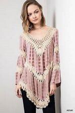 Umgee Crochet  Azuki Tie Dye Gypsy Bohemian Country Tunic Top BNWT