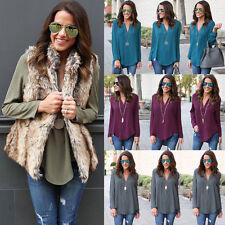 Fashion Women's Loose Long Sleeve v neck Chiffon Casual Blouse Shirt Tops Blouse