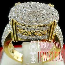 Ladies 10K Yellow Gold Silver Simu Diamond Bridal Engagement Wedding Ring 2.00Ct
