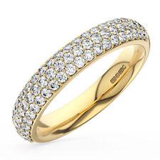 0.70 Ct Round Brilliant Cut Diamond Half Eternity Wedding Ring 9K Yellow Gold