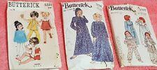 Vintage BUTTERICK PATTERN 5521 5707 5708 Girls Dress Pant Short PJs Nightie Gown